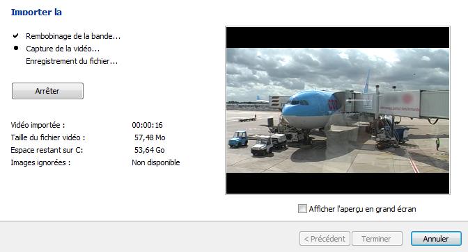 Import de la vidéo en cours