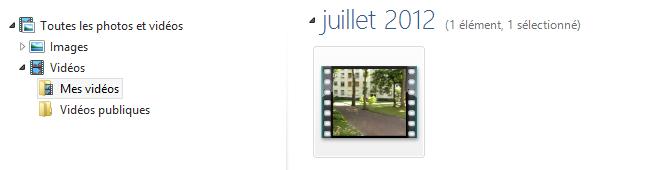 Les vidéos apparaissent aussi dans la Galerie photos