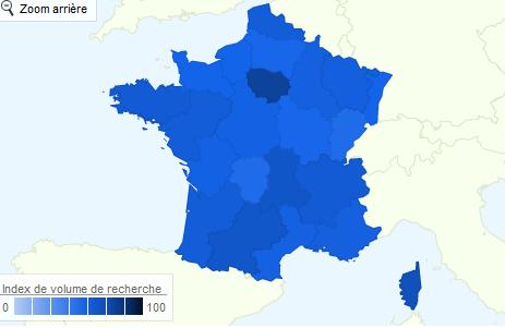 Il semblerait que l'on tape plus « informatique » en Île-de-France qu'ailleurs