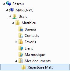Le répertoire partagé apparaît dans la partie Réseau de l'explorateur Windows