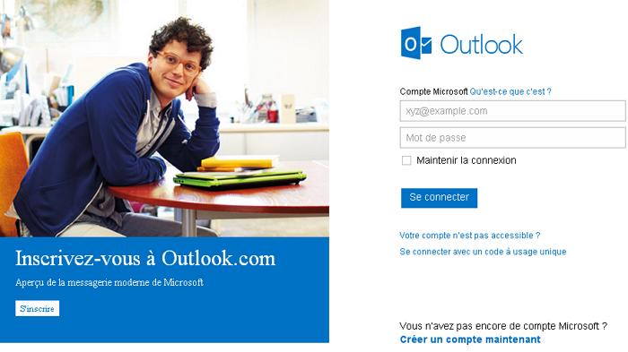 Connexion à Outlook.com avec votre compte Microsoft (si vous en avez un)