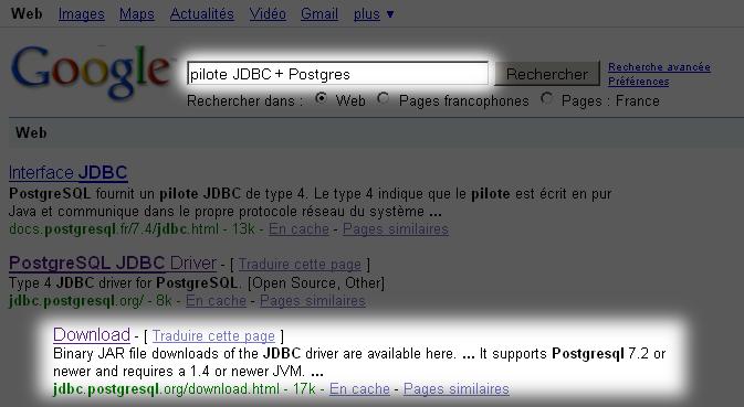 Recherche des pilotes JDBC pour PostgreSQL