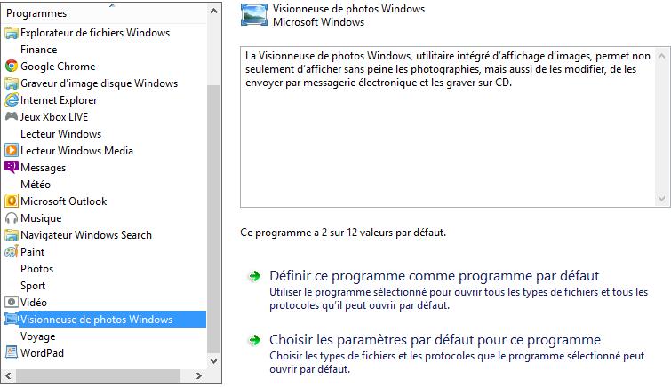 Choix des paramètres par défaut pour la visionneuse de photos Windows.
