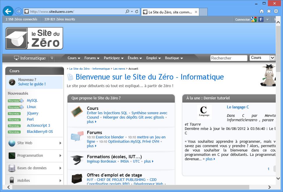 Internet Explorer, côté Bureau.