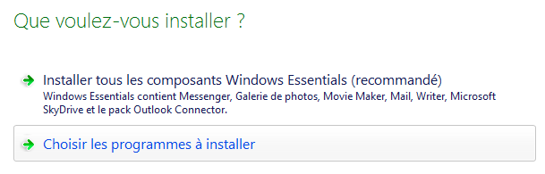 Choix du type d'installation de Windows Essentials