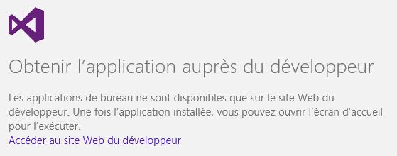 Lien vers le site du développeur du logiciel dans le Windows Store