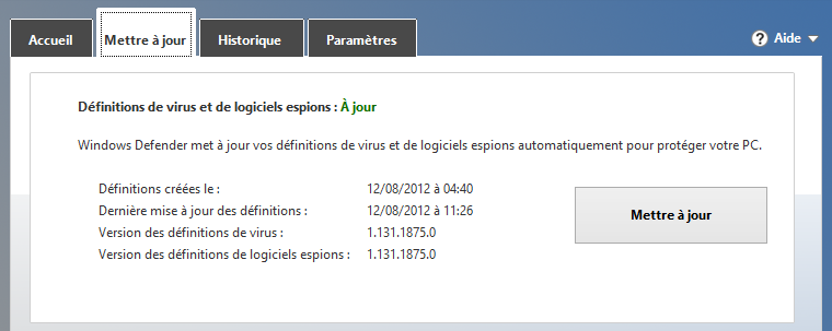 Mise à jour des définitions de virus