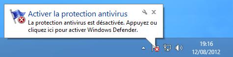 Notification que Defender est désactivé