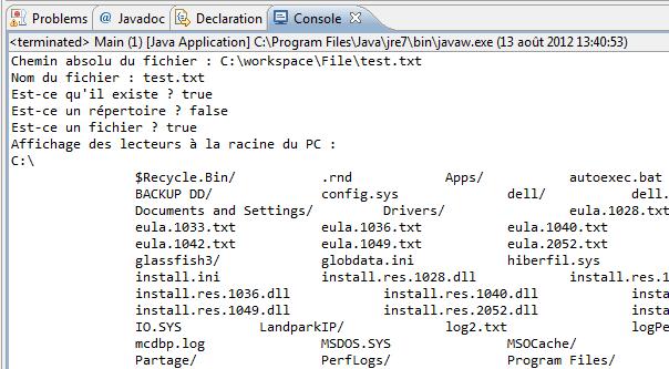 Test de l'objet File