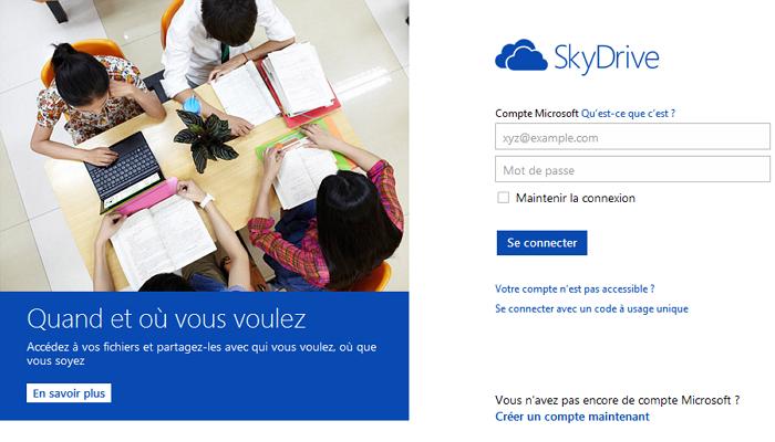 Connexion à SkyDrive Web