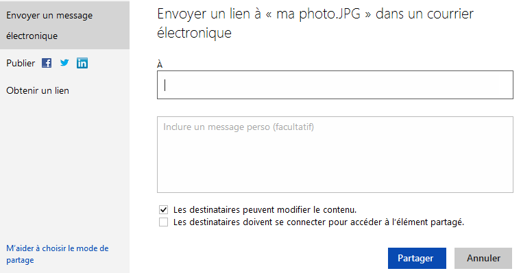 Options de partage de SkyDrive