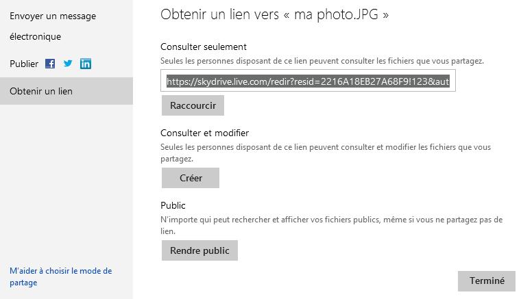Obtenir un lien pour un fichier dans SkyDrive