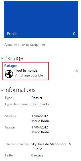 Dossier public de SkyDrive