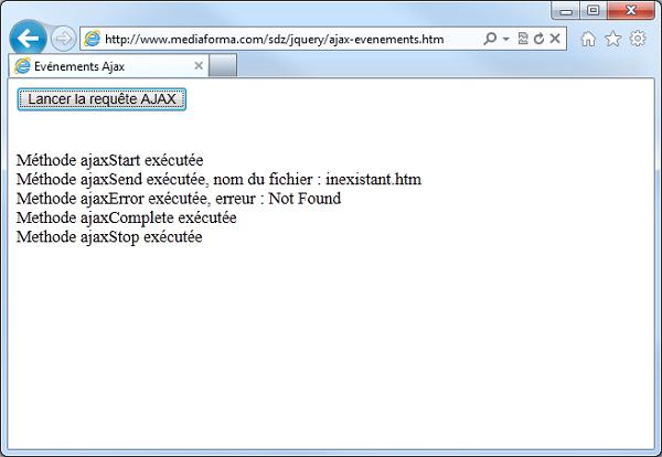 Le fichier inexistant.htm n'a pas été trouvé, ce qui a déclenché l'événement ajaxError