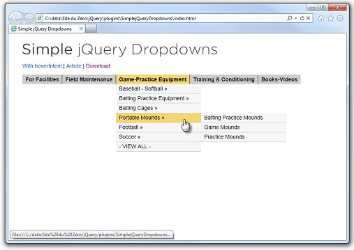 Un menu déroulant en quelques lignes de code HTML avec le plugin « Simple jQuery Dropdowns »