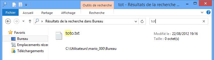 Recherche des fichiers contenant les lettres « tot »