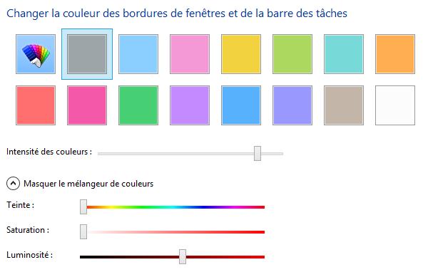 Choix de la couleur des fenêtres