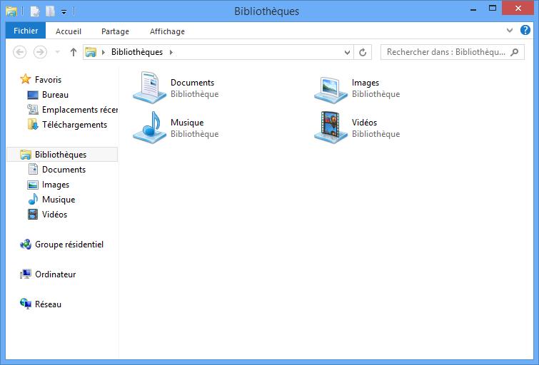 Les bibliothèques dans l'explorateur Windows