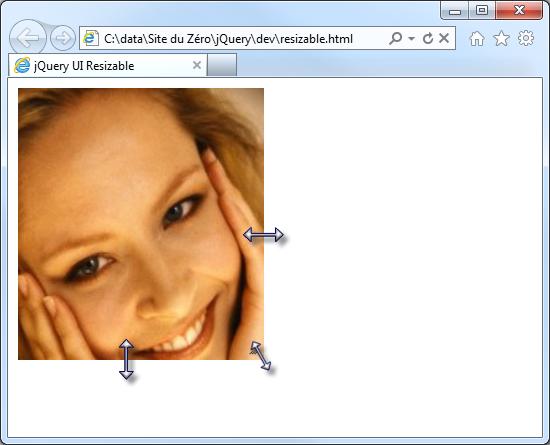 L'image peut être redimensionnée en agissant sur les bords droit et inférieur, et sur l'angle inférieur droit
