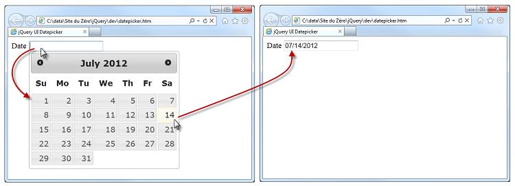 La zone de texte a été transformée en un datepicker en une ligne de code
