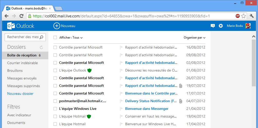 Boîte de réception du webmail Outlook
