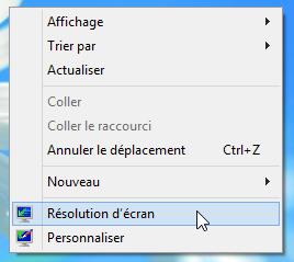 Menu contextuel du Bureau pour changer la résolution de l'écran