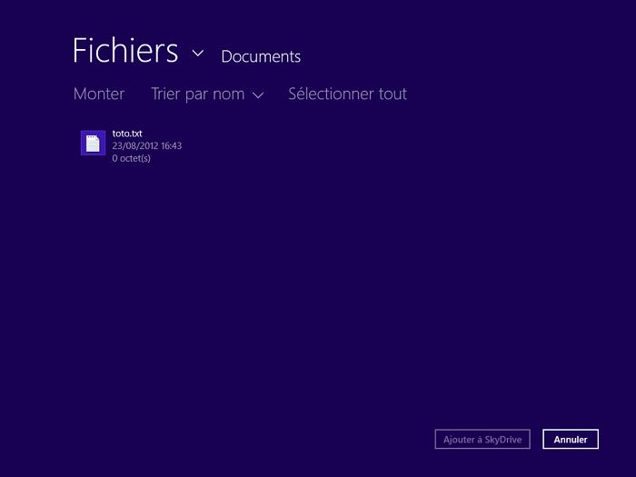 Choix d'un fichier à envoyer dans SkyDrive