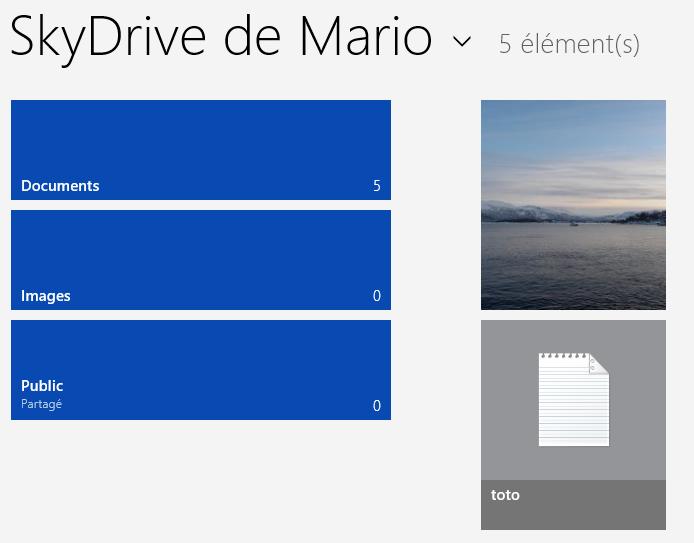 Le fichier a bien été ajouté à SkyDrive