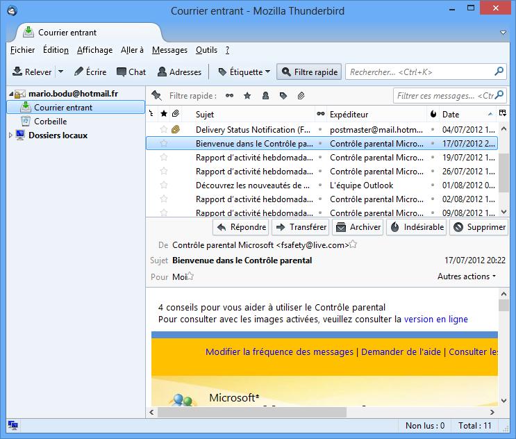 Interface du logiciel Thunderbird