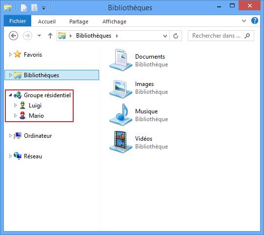 Les membres du groupe résidentiel apparaissent dans l'explorateur Windows
