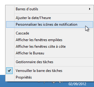 Partie cachée de la zone de notifications