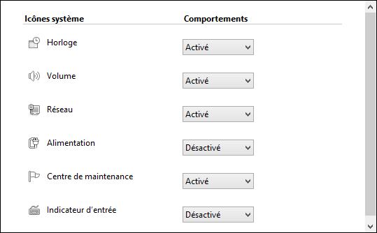 Activer ou désactiver les icônes système