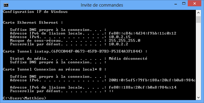 Invite de commandes de Windows
