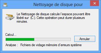 Windows recherche les fichiers à supprimer