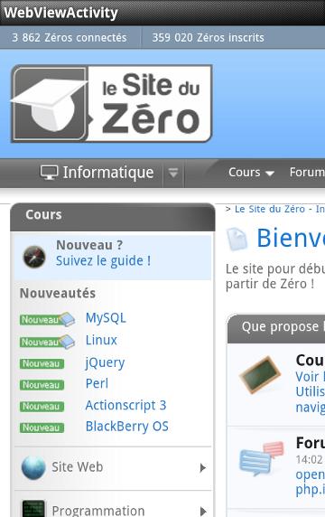 Le Site du Zéro est affiché à l'écran