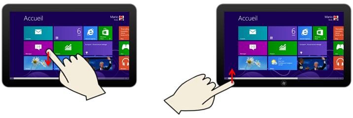 Faire apparaître la barre de commande d'une tuile ou de l'écran Démarrer avec les doigts