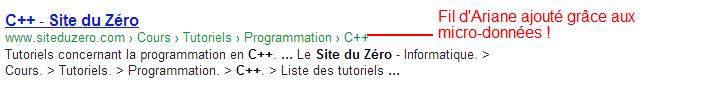 Nous pouvons ajouter un Fil d'Ariane à la place de l'URL grâce aux micro-données !