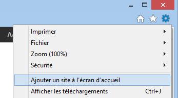 Ajouter un site à l'écran d'accueil, sous Windows 8