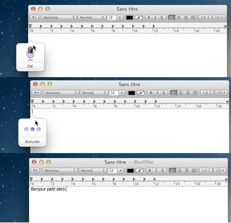 Exemple de l'utilisation de Dictée dans TextEdit
