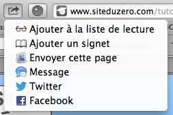Exemple de partage dans Safari