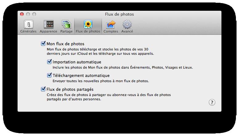 Préférences Flux de photos