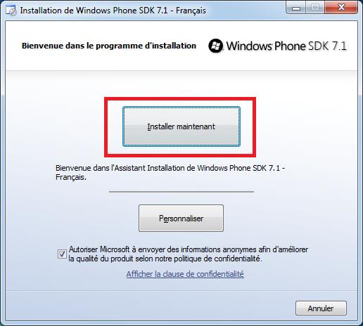 Insaller les outils avec le SDK 7.1