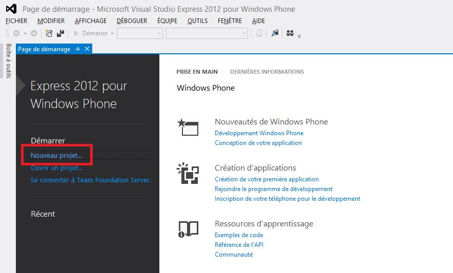 Page de démarrage de Visual Studio permettant de créer un nouveau projet