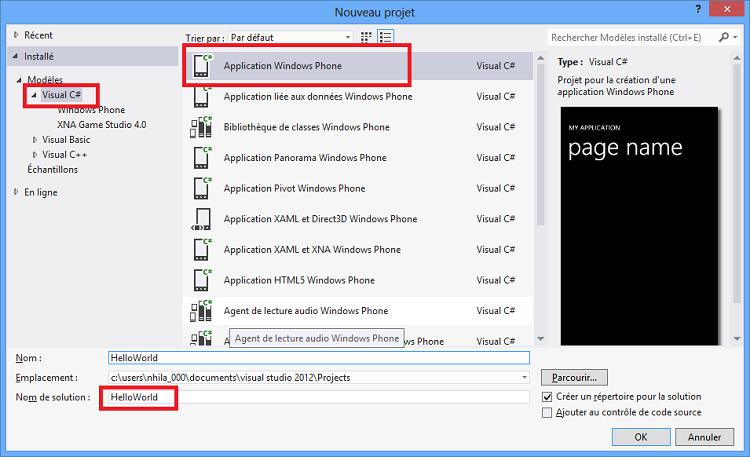 Modèle de projet pour créer une application Windows Phone
