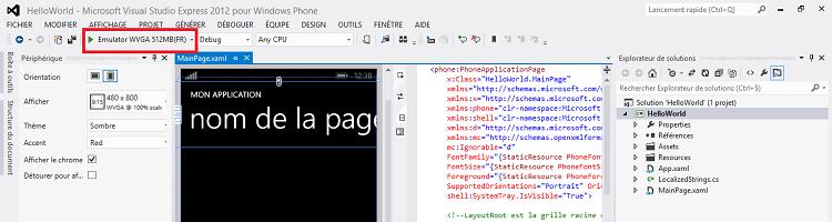 L'interface de Visual Studio, ainsi que la liste déroulante permettant de choisir l'émulateur