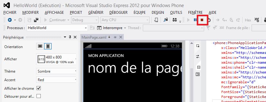 Bouton pour arrêter le débogage dans Visual Studio