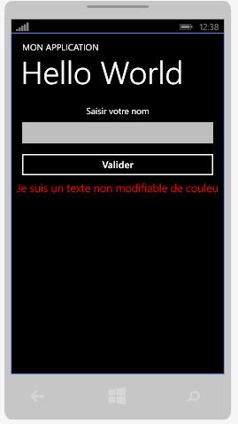 Le texte s'affiche en rouge dans le TextBlock