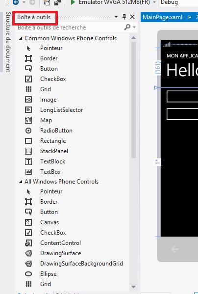 La boîte à outils des contrôles dans Visual Studio