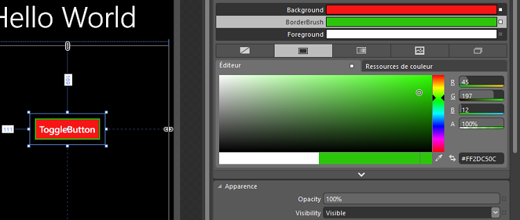 Modification des couleurs du ToggleButton dans Blend