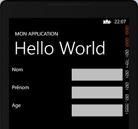 Aperçu d'un formulaire construit en XAML